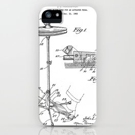 Hi Hat Drum Patent - Drummer Art - Black And White iPhone Case