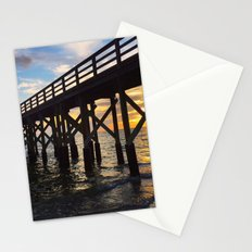 Long Pier over Ocean at Sunset Stationery Cards