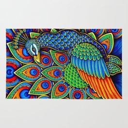 Colorful Paisley Peacock Rainbow Bird Rug