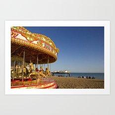 Golden Carousel at the Beach Art Print