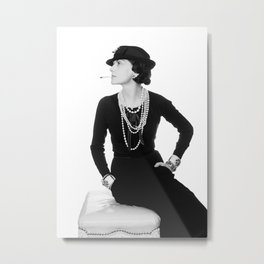 Fashion Icon, French Woman with Pearls, Black and White Art Metal Print