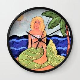 Mermaid and Palm Tree Abstract Digital Painting Wall Clock