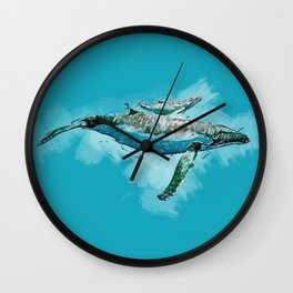 The beauty of a mothers love - Humpback Whales Wall Clock