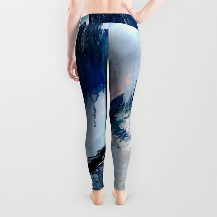 Vibes: an abstract mixed media piece in blues and pinks by Alyssa Hamilton Art Leggings