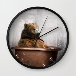 Bear with Rubber Ducky in Vintage Bathtub Wall Clock