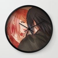 sasuke Wall Clocks featuring Your soul is where I made my home by ilaBarattolo