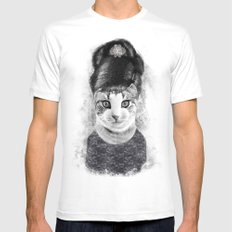 audrey cat MEDIUM White Mens Fitted Tee