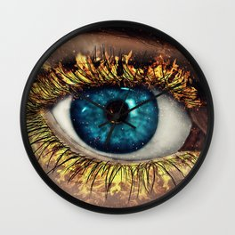 Eye in Flames Wall Clock