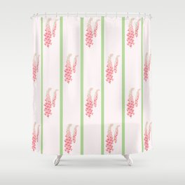 Stripes and Foxglove Pink and Green Repeat Pattern Shower Curtain