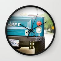 jeep Wall Clocks featuring Jeep Scrambler Summer by Leslee Mitchell