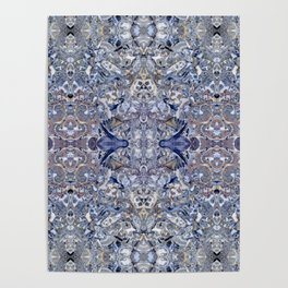Abstract Kaleidoscope Blue Mineral Crystal Texture Poster