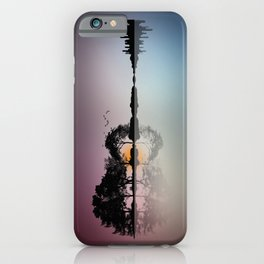 Musical Island - Guitar Shaped tropical Island Sunset & Cityscape iPhone Case