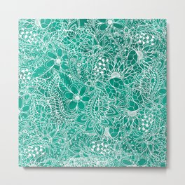 Modern hand drawn floral lace emerald green watercolor Metal Print