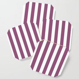 Sugar Plum violet - solid color - white vertical lines pattern Coaster