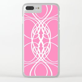 Pink White Swirl Clear iPhone Case