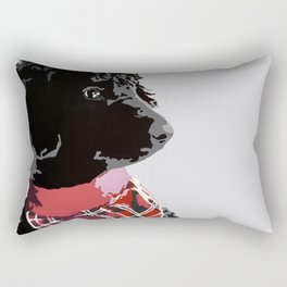 Black Standard Poodle in Grey and Red Rectangular Pillow