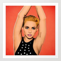 miley cyrus Art Prints featuring Miley Cyrus by headgraphix