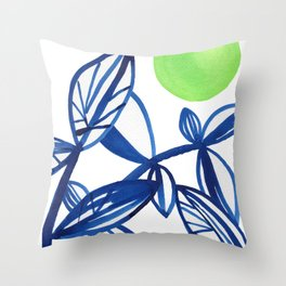 Navy blue and lime green abstract leaves Throw Pillow