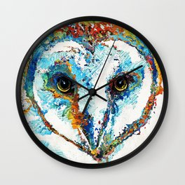 Colorful Barn Owl Art - Birds by Sharon Cummings Wall Clock