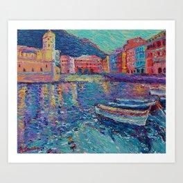 Sunset in Port of Vernazza - modern palette knife sea landscape of Italy by Adriana Dziuba Art Print