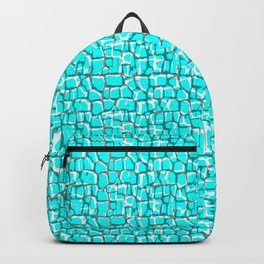 Turquoise Red and Black Crocodile Backpack