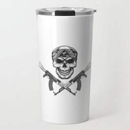 Cranio De Bandido Monocromatico Vintage Na Bandana Travel Mug