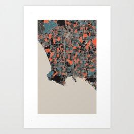 Los Angeles Multicoloured Print Art Print