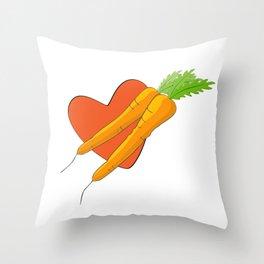 Carrot Heart Throw Pillow