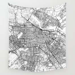 Amsterdam White Map Wall Tapestry