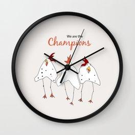 champions cartoon funny chicken Wall Clock
