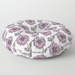 Graphic purple daisy flower pattern Floor Pillow