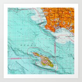 Long Beach colorful old map Art Print