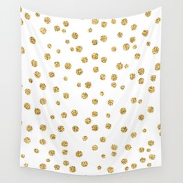 Gold glitter confetti on white - Metal gold dots Wall Tapestry