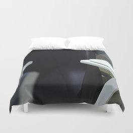 Four White Wooden Chairs... Duvet Cover