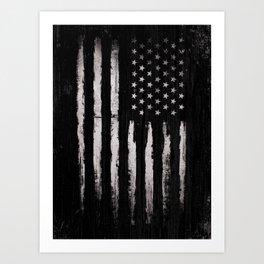 White Grunge American flag Art Print