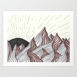 maroon abstract mountains Art Print