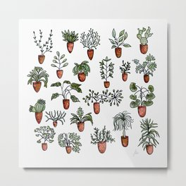 Succulent Houseplants in Terracotta Pots, Watercolor Cacti & Plant Wall Art Metal Print