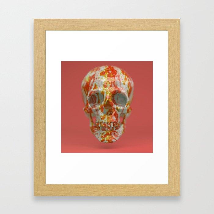 Red Candy Skull Framed Art Print