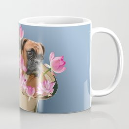Saxophone Boxer with Lotos Flower Blossoms Coffee Mug
