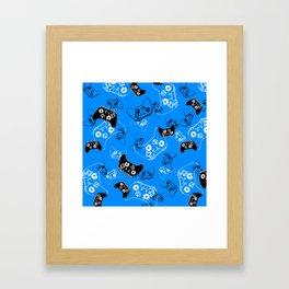 Video Game in Blue Framed Art Print
