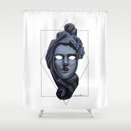 Female Venetian Mask | Watercolor and Colored Pencil  Shower Curtain