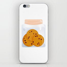 Chocolate chip cookie, homemade biscuit in glass jar iPhone Skin