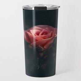 Single Pink Rose Bloom In Darkness Travel Mug
