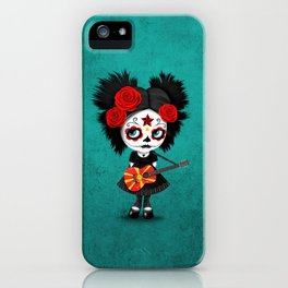 Day of the Dead Girl Playing Macedonian Flag Guitar iPhone Case