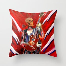 Fantasy art heavy metal skull guitarist Throw Pillow