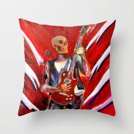 Fantasy art heavy metal skull guitarist Throw Pillow