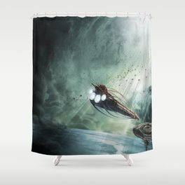 The Intrepid arrives at Carthage - Green Clouds Shower Curtain