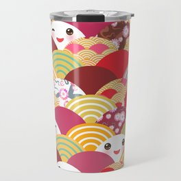 Kawaii Nature background with japanese sakura flower, wave pattern Travel Mug