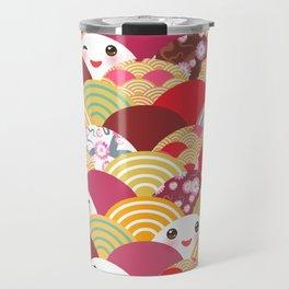 Kawaii Nature background with japanese sakura flower, wave pattern Travel Mug