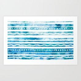 Ocean Blue Stripe Pattern Art Print